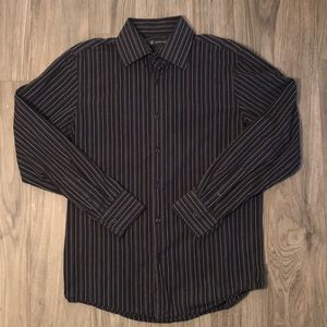 International Concepts Black Striped Button-Down